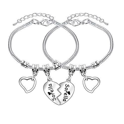 2 pulseras para hermanas con forma de corazón y forma de corazón, pulsera ajustable de serpiente para mujeres y niñas, regalo de joyería familiar