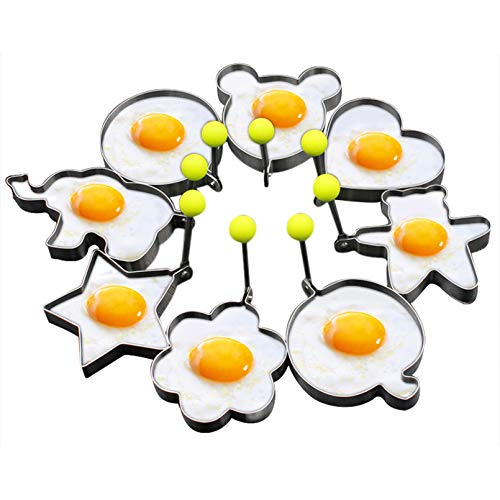 Slomg 8pcs Set Fried Egg Rings Mold Non Stick for Griddle Pan, Egg Shaper Pancake Maker with Handle, Stainless Steel Egg Form for Frying Cooking
