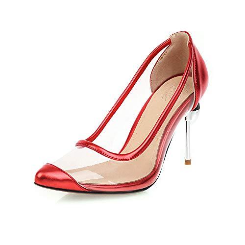DEAR-JY Zapatos de Tacón para Mujer,9Cm Transparente Sexy Asakuchi Mary Jane Court Shoes,Fiesta de Bodas Clubbing Vestido de Noche Bombas de tacón de Aguja Alto Tallas Grandes,Rojo,42 EU/7.5UK
