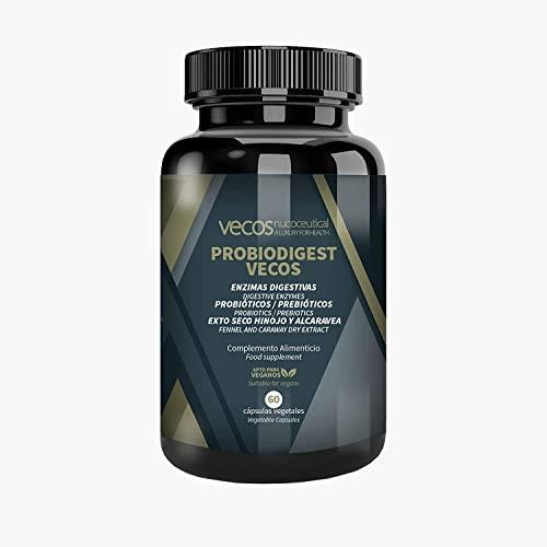 Enzimas digestivas con alta concentración de papaína, bromelina y digezyme + PROBIÓTICOS Y PREBIOTICOS para mejorar la digestión – Mejora la salud gastrointestinal - 60 cáp VEGANOS
