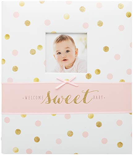 """Carter's Pink and Gold Polka Dot My First Years Loose Leaf Memory Book for Baby Girls, 10"""" W x 11.75"""" H, 64 Pages"""