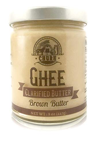 Brown Butter Ghee Butter by Churn Ghee, Grass-Fed, Pasture Raised, Gluten Free, Lactose & Dairy Free, Paleo and Keto-Friendly, Made from Amish Roll Butter, 8 Ounces