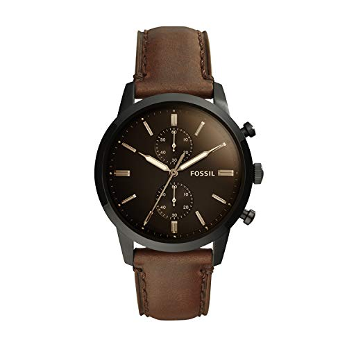 Fossil Men's Townsman Quartz Leather Chronograph Watch, Color: Black (Model: FS5437)