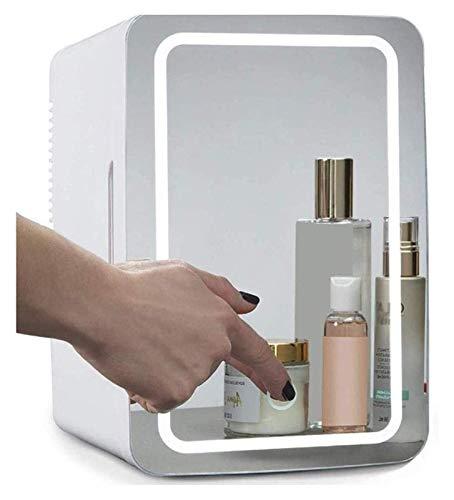 Mini maquillaje Belleza Nevera, refrigerador cosmético de 8 litros 2-en-1 Espejo de maquillaje de maquillaje Frigorífico con luz LED Compact Portable Cooler usado para la belleza Cuidado de la piel en