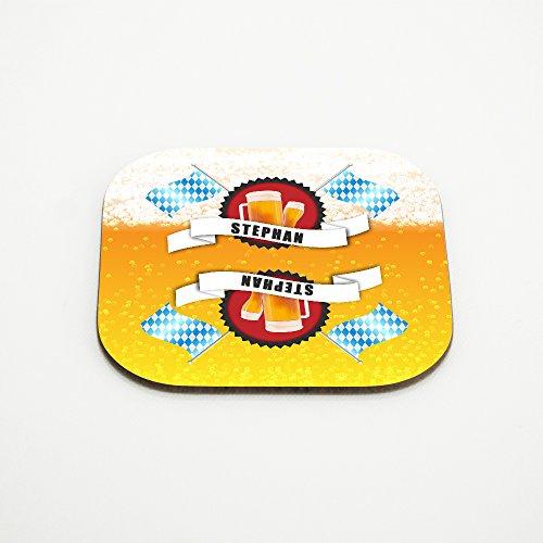 Untersetzer für Bier-Gläser mit Namen Stephan und schönem Bier-Motiv mit weiss-blauen Flaggen