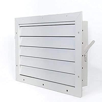 """Aluminum Garage Door Air Vent Grille Register - With Damper Control Lever For Winter & Summer Settings - With Mesh Guard [Outer Dimensions: 17.5""""w X 12""""h]"""