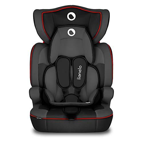 Lionelo Levi One Kindersitz 9-36kg Kindersitz Auto höhenverstellbare vertiefte Kopfstütze Seitenschutz abnehmbare Rückenlehne Sitzverkleinerer 5-Punkt-Gurte (Sporty Black)