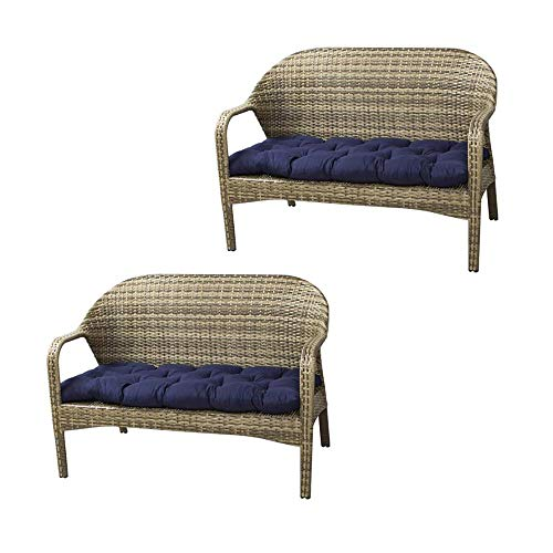 2Pcs Bench Cushion, 100*50cm, Thick Bench Pad Mat Seat Cushion, Chaise Swing Chair Cushion,Rectangle Soft Chaise Swing Chair Cushion for Garden Outdoor Metal or Wooden Bench,no chair (Navy Blue, 2PCS)