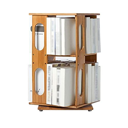 Home Equipment Estantería ajustable de 2 niveles Estante abierto de bambú 360 grados;Estantería de escritorio moderna multifuncional giratoria, estante de exhibición de almacenamiento de aterrizaj