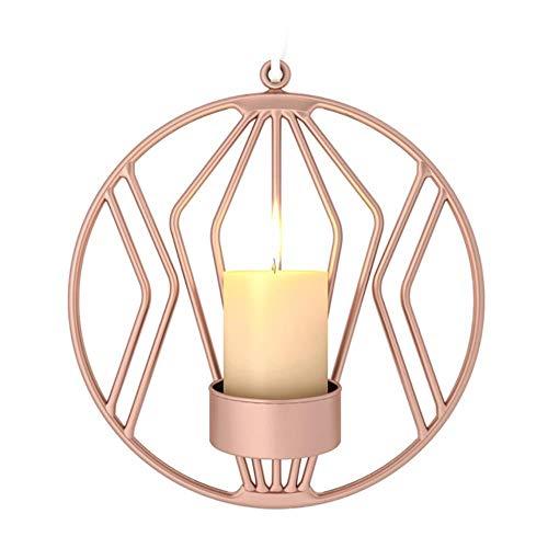 YEZINB 3D Geometric Candlestick Eisen Wand Kerzenhalter Wandleuchte Teelicht Home Deco, Rose Gold