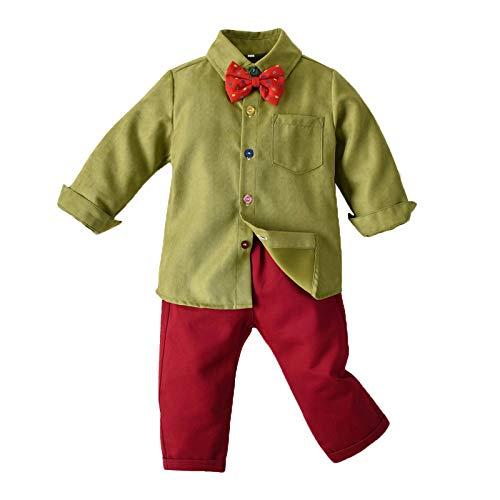 """""""N/A"""" Disfraces para niños Monos De Camisa con Pajarita De Manga Larga para Niños Navideños Adecuados para Fiestas Navideñas En Interiores Y Exteriores,Green1,130CM"""