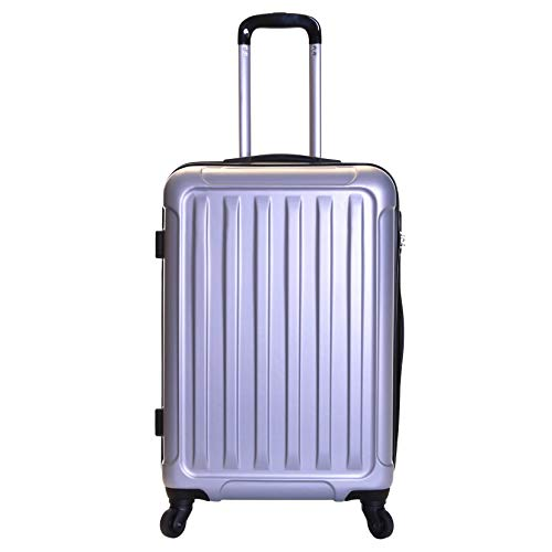 Slimbridge Hard Medium Large Suitcase Luggage Bag ABS Shell 67 cm 3.2 kg 55 litres with 4 Wheels and Integrated Number Lock, Lydd (67 cm, Silver)