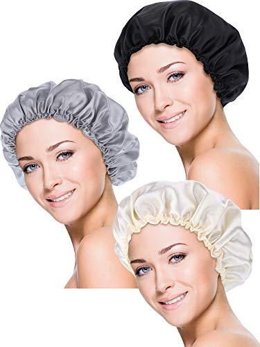Blulu 3 Stücke Schlafmütze Satinhaube Nacht Kopfbedeckung Schlafen Weich Haar Turbans für Frauen und Mädchen (S, Schwarz, Beige, Silber)