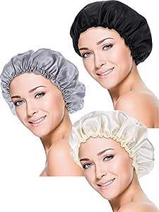 Blulu 3 Piezas Gorros de Dormir de Satén Cubierta de Cabeza de Noche Turbantes de Dormir de Pelo Suave para Mujeres y Niñas (S, Negro, Beige, Plata)