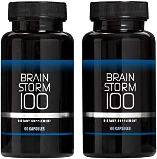 Brainstorm100 Nootropic Brain Support Supplement - Memory, Focus & Clarity Formula - Lions Mane, Bacopa, Ginkgo Biloba, L-Theanine & More - Formulated for Optimal Performance (120 Count Pack of 2)