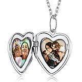 Custom4U Camafeo para Fotos Doble Locket Collar para Mujeres Plata de Ley 925 Chapado en Oro Blanco Cadena Hipoalergénica 18 Pulgadas Guardapelo Corazón Romántico para Novias