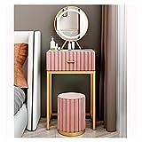 Tocador Mesa Cosmética Conjunto de Mesa, Espejo y Taburete de flanneltte, tocador de tocador de Maquillaje con 1 cajón para Dormitorio, (Rosa) Escritorio de Maquillaje (Size : 40cm)