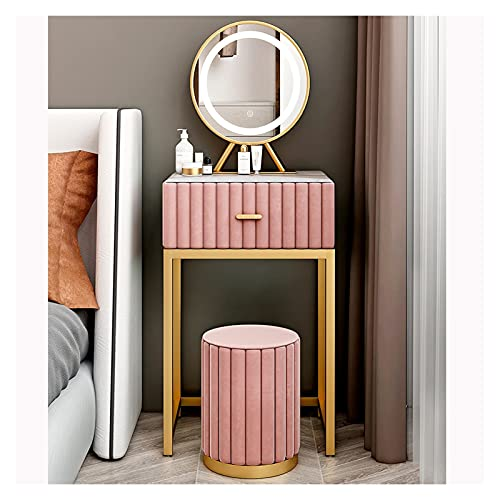 Xu Yuan Jia-Shop Tocador Mesa de Maquillaje Conjunto de Mesa, Espejo y Taburete de flanneltte, tocador de tocador de Maquillaje con 1 cajón para Dormitorio, (Rosa) Juego de Tocador (Size : 50cm)