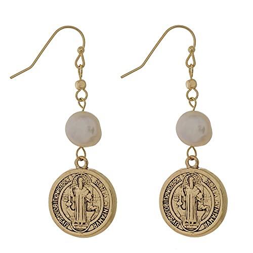 Pendientes colgantes – Medalla de San Benito y perla de agua dulce