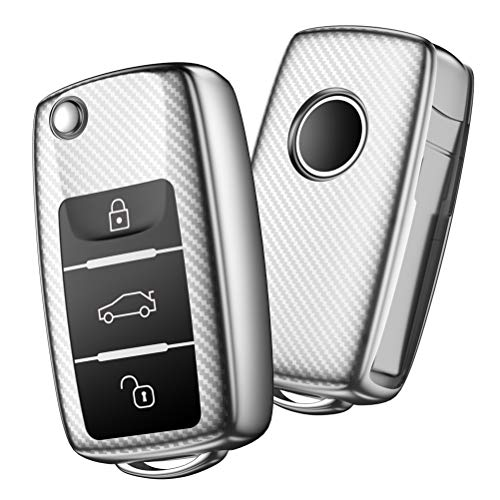 OATSBASF Autoschlüssel Hülle VW,VW Golf Schlüsselbox,Schlüsselhülle Cover für VW Polo Passat Skoda Seat 3-Tasten(Silver-Streifen)