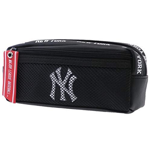 ニューヨークヤンキース[ペンポーチ]BOXペンケース/メッシュポケット MLB【ブラック/合皮 】