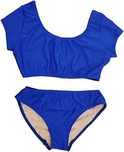 Cheryl Creations Kids Girl's Black Cute & Comfortable Two Piece Short Sleeve Bathing Suit Bikini | Swimsuit (Medium 10/12, Royal Blue)