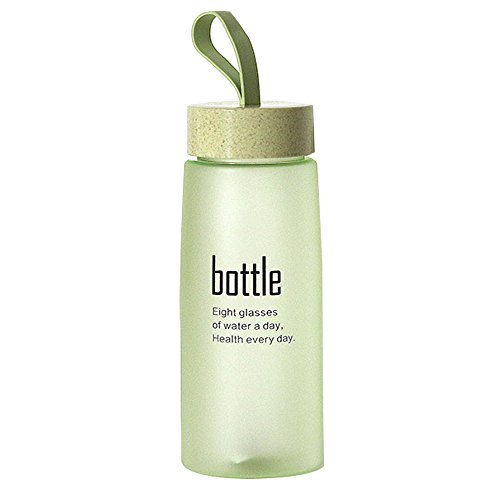 Enjoy Best Time 18 Oz Personalized Safe Plastic Kides Water Bottle with Straw Lid -Fruits,Iced Tea,Coffee Hot Drinks Mugs for Sports,Travel,Climbing,Biking(Green)-18 oz