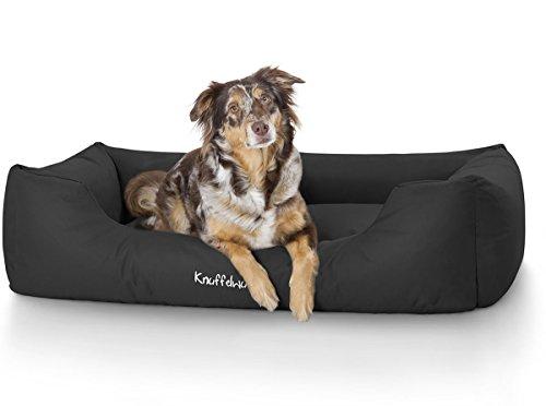 Knuffelwuff Hundebett XXL Finlay Hundekorb Hundesofa Hundekissen Hundekörbchen sehr Robust aus texturiertem Nylon waschbar Schwarz 120 x 85cm Grosse Hunde