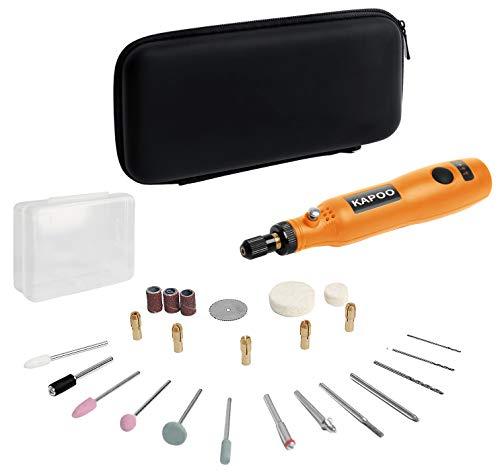 Mini Amoladora, 3.7V Amoladora Electrónica DC con 3 velocidad variable, Herramienta Rotativa USB Recargable con 26 Pcs Accesorios para los DIY trabajos de Pulido Abrasivo y Corte