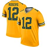 HQIUYI Green Bay Packers # 12 Rodgers Rugby T-Shirt, Inverted Legend Jersey Short Sleeve Sweatshirt