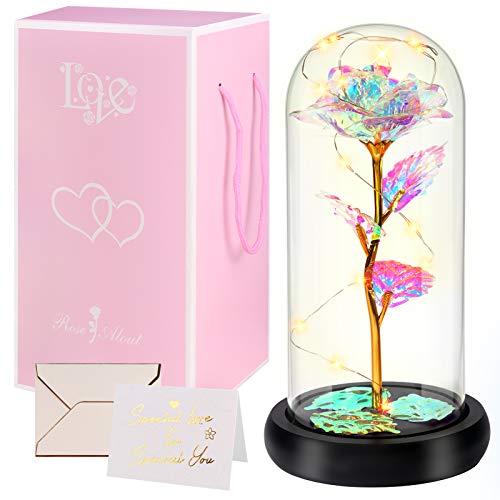 Minterest Rosa Eterna,Día de la Madre Regalo Original,Rosa Bella y Bestia con luz LED,Regalos Originales para Mujer,Regalos Mujer(Rosa)
