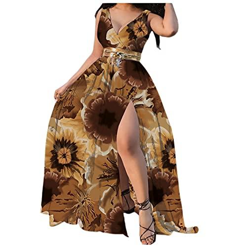 Dasongff-Robe Élégant Taille Haute Fendue Imprimé, Femmes sans Manches Jupe Longue avec Ceinture, Sexy Col en V Robe de Plage Florale