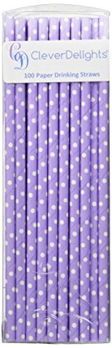 CleverDelights Biodegradable Paper Straws - Lavender Solid Polka Dot - Light Purple - Box of 100