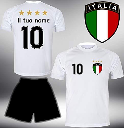 DE-Fanshop Italien Trikot Set 2018 mit Hose GRATIS Wunschname Nummer im EM WM Weiss Typ #IT1th - Geschenke für Kinder Erw. Jungen Baby Fußball T-Shirt Bedrucken Italia