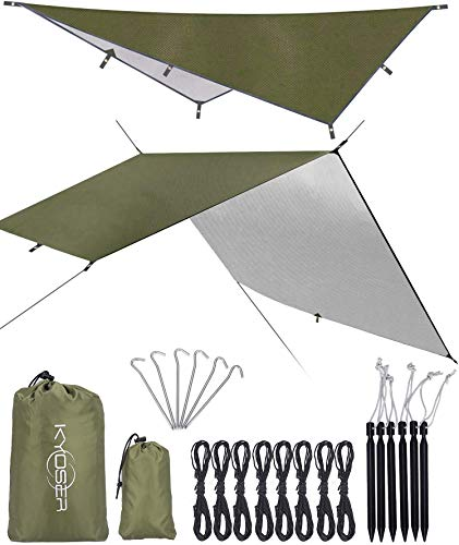 【KYOSER】タープ キャンプ 防水タープ UV 軽量 日焼け紫外線カット 天幕シェード 超軽量携帯便利 タープセット 2-6人用 3サイズ (アーミーグリーン 300cm×500cm)