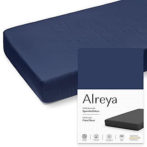 Alreya Jersey Spannbettlaken - 180x200 / 200x200 cm - Blau - 100% Baumwolle - Klassisches Spannbetttuch für Standardmatratzen - Oeko-TEX®
