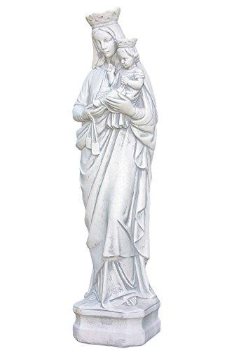 Steinskulptur Maria mit Kind, 81 cm hoch, Figur aus Steinguss