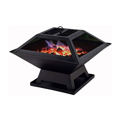 HTTJDY Garden Fire Pit Outdoor Wood Log Burner BBQ Patio Heater Metal Camping Brazier On Stand with Lid and Poker Cast Iron Brazier Heater