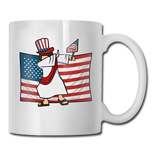 Taza de café con diseño de bandera de Jesús americana