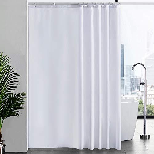 Duschvorhang Überlänge für Badezimmer, Badvorhang Anti-schimmel Textil für Badewanne und Dusche, Vorhang aus Stoff Antibakteriell Waschbar, mit 12 Haken Extra Groß Weiß 200x240cm.