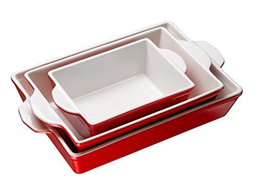 Bakeware Set, Kook, Ceramic Baking Dish, Set of three, Casserole Dish for cooking, Cake Dinner, Banquet and Daily Use (Cherry)