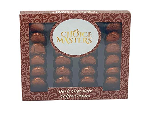 Choice Masters Finest Fondant Flavour Dark Chocolates Cremes Gift Box Suitable for Vegans 200g 24 Luxurious Cremes - Violet, Coffee, Strawberry, Ginger & Mint (Coffee Cremes)