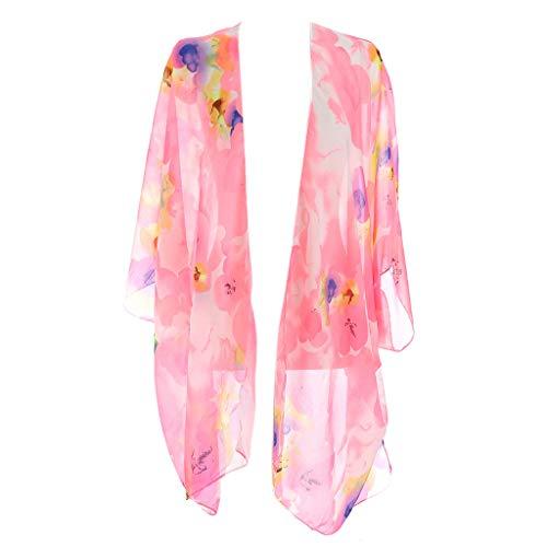 YO-HAPPY Damen Cardigan, Damen Sommer 3/4 Ärmel Bikini Cover Up Bohemian Coloured Floral Printed Asymmetric Hem Offene Vorderseite Kimono Cardigan Top Side Split Loose Shawl