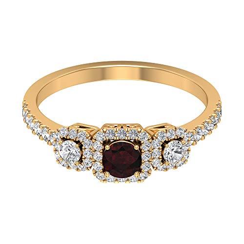 Anillo de granate solitario de 1/4 quilates, anillo de compromiso con halo de diamantes HI-SI de 1/2 quilates, oro vintage (granate redondo de 4 mm), 14K Oro amarillo, Size:EU 56