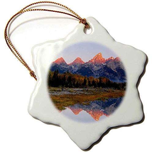Lplpol Grand Tetons, Sunrise, Alpenglow, Grand Teton NP, Wyoming, USA Snowflake Holiday Shaped Porcelain Ornament Christmas