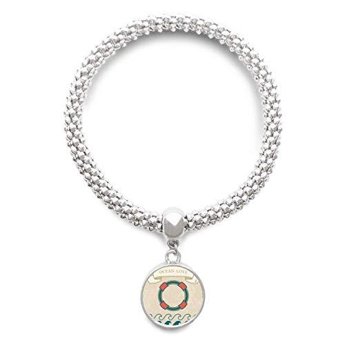 DIYthinker Womens leven boei oceaan liefde zee zeilen patroon Sliver armband ronde hanger sieraden ketting