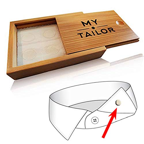 Collar Stay Stickers for Men & Women - Double Sided Fashion Tape - Shirt, Tie & Belt Anchor - Shirt Button Repair - With Magnetic Luxury Bamboo Storage Box (66 Pack)