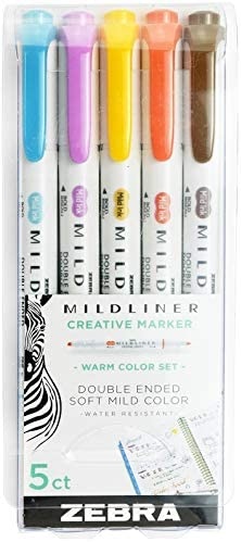 Zebra Pen Mildliner Double Ended Highlighter Set Broad and Fine Point Tips, 5 Pack, Cool & Refined
