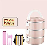 かわいいランチボックスと絶縁ランチバッグ,大人のための食器付き弁当箱食品容器収納箱-b 19.5x14.5cm(8x6inch)