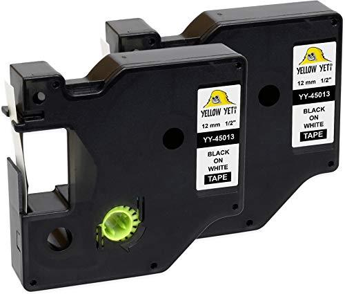 Yellow Yeti 2 Cassette Nastri D1 45013 S0720530 nero su bianco 12mm x 7m Etichette compatibili per Etichettatrici DYMO LabelManager PnP 160 210D 280 360D 420P 500TS MobileLabeler & LabelWriter 450 Duo